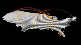 美国与空中曲线连接的地图中间影调 库存例证