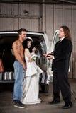 美国东南部山区的农民婚礼 库存照片