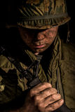 美国举行M16的海洋越战 库存图片