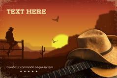 美国乡村音乐 与吉他的西部背景 免版税库存照片