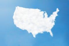 美国云彩地图 图库摄影