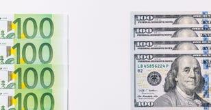 美国人一百元钞票 欧元注意反映 免版税库存图片