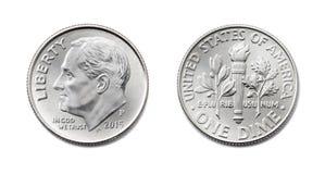 美国人一角钱,美国十分, 10 c硬币双方孤立 库存照片