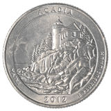 美国人四分之一硬币-阿卡迪亚国家公园 免版税图库摄影