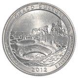 美国人四分之一硬币- chaco文化国家公园 免版税库存图片