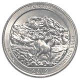 美国人四分之一硬币- denali国家公园 免版税图库摄影