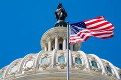 美国人沙文主义情绪在洗涤的国会大厦圆顶前面 免版税图库摄影