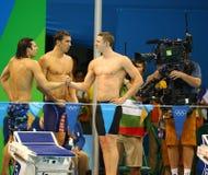 美国人的4x100m混合泳队Cory米勒(l),迈克尔・菲尔普斯和莱恩・墨菲庆祝胜利 库存图片