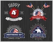 美国人美国独立日徽章汇集,第4 7月徽章 皇族释放例证