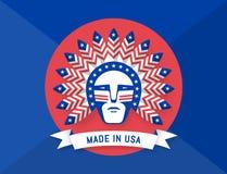 美国人象有印第安酋长的在头用羽毛装饰 向量例证