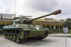 美国人76个mm枪马达支架M18 M18 GMC悍妇在军用设备博物馆  库存图片