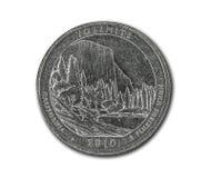 美国优胜美地在白色的两毛五硬币 免版税库存图片