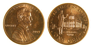 美国便士从2009年 免版税图库摄影