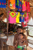 美国儿童embera当地巴拿马tusipono 免版税库存照片