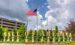 美国入口标志购物中心  免版税库存照片