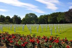 美国公墓在诺曼底。 免版税库存图片
