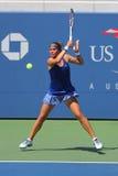 美国公开赛2014女孩小辈决赛选手从乌克兰的Anhelina Kalinina在比利・简・金国民TennisCenter的决赛期间 免版税图库摄影