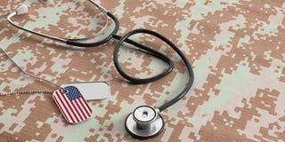 美国军事医治 美国国旗识别标签和听诊器在数字式伪装织品 3d例证 免版税库存照片