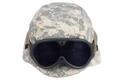美国军队与风镜的凯夫拉尔盔甲 免版税库存照片