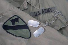美国军队卡箍标记 库存图片