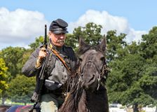 美国南北战争的同盟骑兵 库存照片