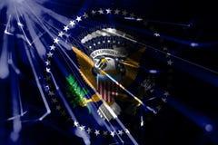 美国发光的烟花闪耀的旗子的总统 新年2019年和圣诞节发光的未来派党概念旗子 库存例证