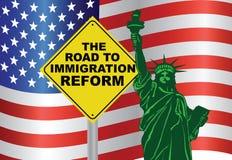 美国向移民改革自由女神像的政府路 库存图片