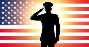 美国向致敬的战士 库存照片