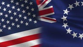 美国和一起库克群岛现实半旗子 库存例证