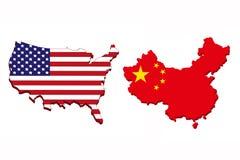 美国和中国旗子地图 免版税库存图片