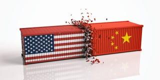 美国和中国贸易战 美国的美国和中国旗子碰撞了在白色背景隔绝的容器 库存例证
