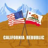 美国和加利福尼亚陈述振翼在死亡谷的旗子 库存照片