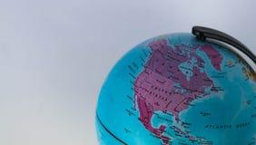美国和加拿大在地球映射有白色背景 库存照片