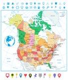 美国和加拿大大详细的政治地图与路和navig 免版税库存图片