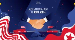 美国和北朝鲜传染媒介横幅握手合作核裁军 关于核裁军,握手的协议 库存例证