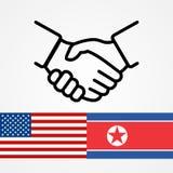 美国和北朝鲜平握手的旗子 库存图片