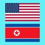 美国和北朝鲜旗子 库存照片