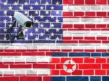 美国和北朝鲜的旗子 库存照片