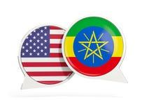 美国和埃塞俄比亚的旗子在闲谈泡影里面 向量例证