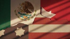 美国和墨西哥旗子在破裂的混凝土 免版税库存图片