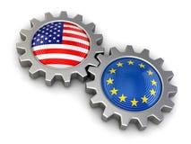 美国和欧盟旗子在齿轮(包括的裁减路线) 免版税库存图片