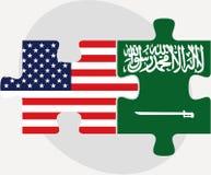 美国和沙特阿拉伯旗子在难题 库存图片