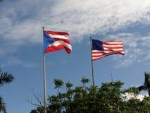 美国和波多黎各旗子 图库摄影