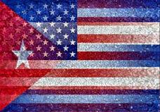 美国和被混和的古巴旗子 免版税库存照片