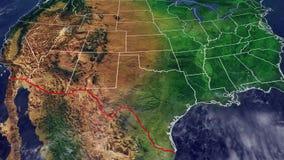 美国和边界地图与墨西哥 库存例证