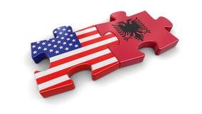 美国和阿尔巴尼亚难题从旗子 免版税库存照片