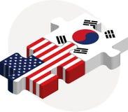 美国和韩国旗子在难题 图库摄影