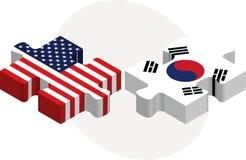 美国和韩国旗子在难题 免版税库存图片