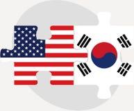 美国和韩国旗子在难题 库存图片