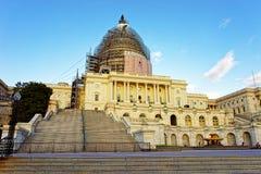 美国国会大厦在重建下 图库摄影